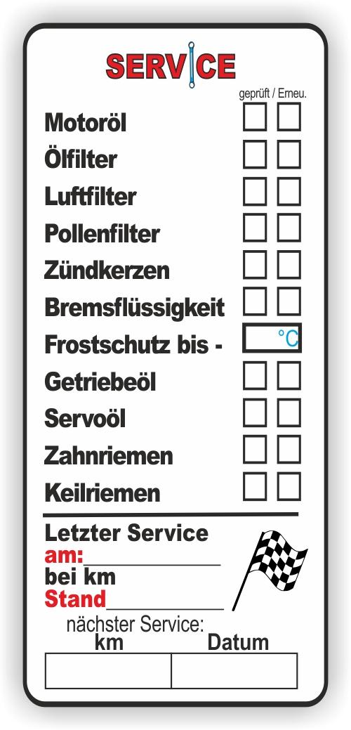 10 serviceaufkleber service aufkleber kfz inspektion. Black Bedroom Furniture Sets. Home Design Ideas